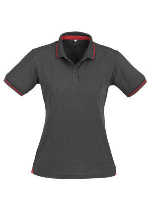 Biz Collection-Biz Collection Ladies Jet Polo-Steel Grey / Red / 8-Uniform Wholesalers - 6