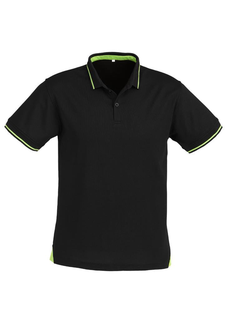 Biz Collection-Biz Collection Mens Jet Polo-Black/Bright Green / Small-Uniform Wholesalers - 1