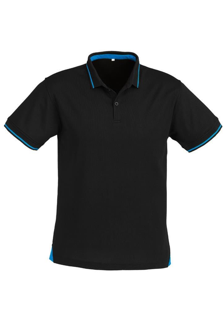 Biz Collection-Biz Collection Mens Jet Polo-Black / Cyan Blue / Small-Uniform Wholesalers - 2