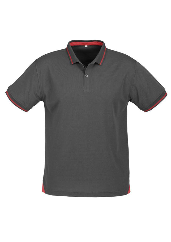 Biz Collection-Biz Collection Mens Jet Polo-Steel Grey / Red / Small-Uniform Wholesalers - 7