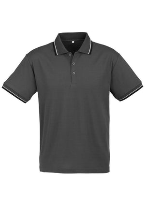 Biz Collection-Biz Collection Mens Cambridge Polo-Steel Grey / Black / White / Small-Uniform Wholesalers - 8