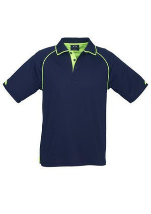 Biz Collection-Biz Collection Mens Fusion Polo-Navy / Fluro Lime / Small-Uniform Wholesalers - 2