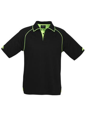 Biz Collection-Biz Collection Mens Fusion Polo-Black / Fluro Lime / Small-Uniform Wholesalers - 1