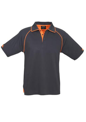 Biz Collection-Biz Collection Mens Fusion Polo-Grey / Fluro Orange / Small-Uniform Wholesalers - 3