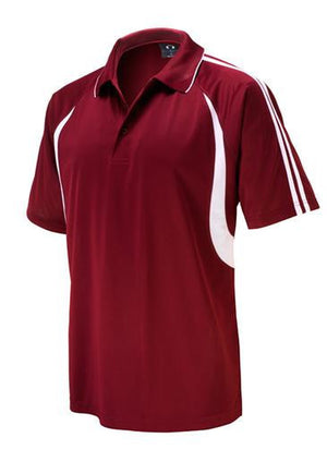 Biz Collection-Biz Collection Mens  Flash Polo 2nd ( 6 Colour )-Maroon / White / Small-Uniform Wholesalers - 2