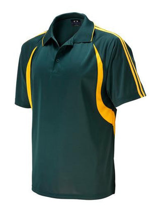 Biz Collection-Biz Collection Mens  Flash Polo 2nd ( 6 Colour )-Forest/Gold / Small-Uniform Wholesalers - 7