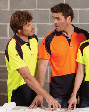 Visitec-Visitec Mens Energy Microfibre Polo S/S-Orange/Navy / L-Uniform Wholesalers
