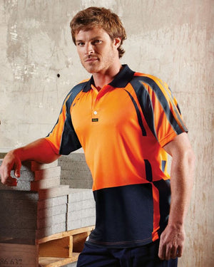 Visitec-Visitec Pro Airwear Polo S/S-Orange/Navy / S-Uniform Wholesalers