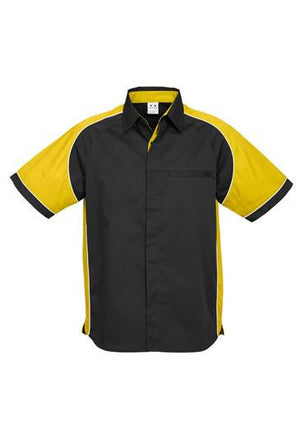 Biz Collection-Biz Collection Mens Nitro Shirt-Black / Yellow / White / S-Uniform Wholesalers - 10
