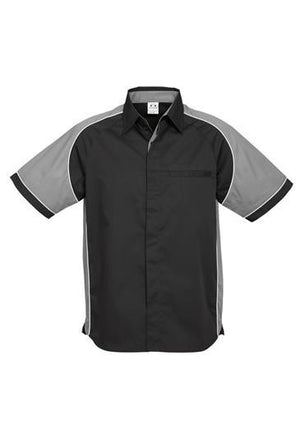 Biz Collection-Biz Collection Mens Nitro Shirt-Black / Grey / White / S-Uniform Wholesalers - 8