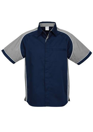 Biz Collection-Biz Collection Mens Nitro Shirt-Navy / Grey / White / S-Uniform Wholesalers - 12