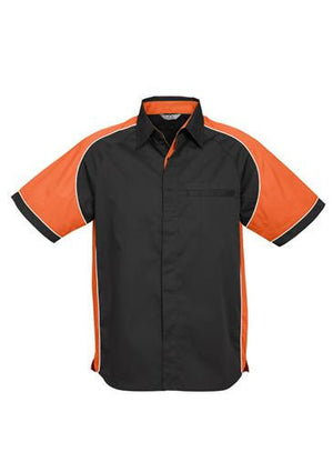 Biz Collection-Biz Collection Mens Nitro Shirt-Black / Orange / White / S-Uniform Wholesalers - 5