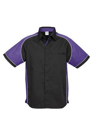 Biz Collection-Biz Collection Mens Nitro Shirt-Black / Purple / White / S-Uniform Wholesalers - 2