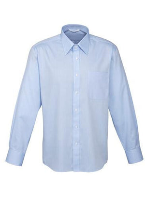 Biz Collection-Biz Collection Mens Luxe Long Sleeve Shirt-Blue / Small-Uniform Wholesalers - 2