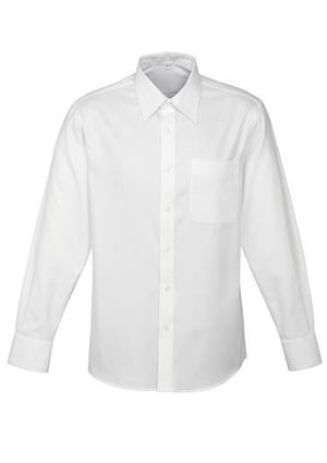Biz Collection-Biz Collection Mens Luxe Long Sleeve Shirt-White / Small-Uniform Wholesalers - 3