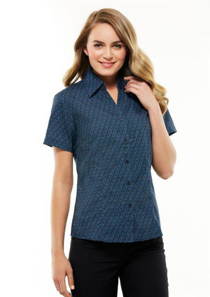 Biz Collection-Biz Collection Ladies Printed Oasis Shot Sleeve  Shirt-Teal / 6-Corporate Apparel Online - 2