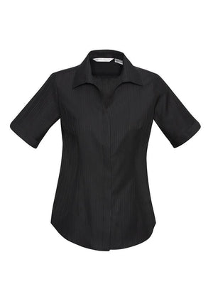 Biz Collection-Biz Collection Preston Ladies Short Sleeve Shirt-Black / 6-Uniform Wholesalers - 2