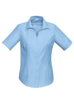Biz Collection-Biz Collection Preston Ladies Short Sleeve Shirt-Blue / 6-Uniform Wholesalers - 3
