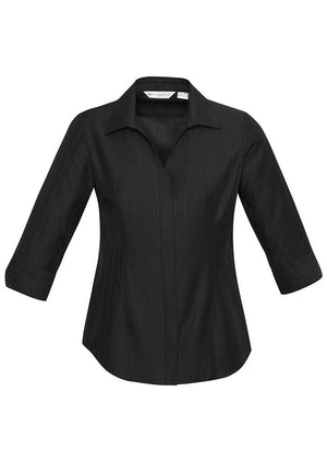 Biz Collection-Biz Collection Preston Ladies 3/4 Sleeve Shirt-Black / 8-Uniform Wholesalers - 2