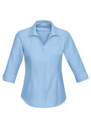 Biz Collection-Biz Collection Preston Ladies 3/4 Sleeve Shirt-Blue / 6-Uniform Wholesalers - 3