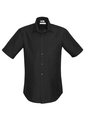 Biz Collection-Biz Collection Preston Mens Short Sleeve Shirt-Black / S-Uniform Wholesalers - 2