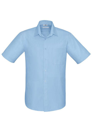 Biz Collection-Biz Collection Preston Mens Short Sleeve Shirt-Blue / S-Uniform Wholesalers - 3