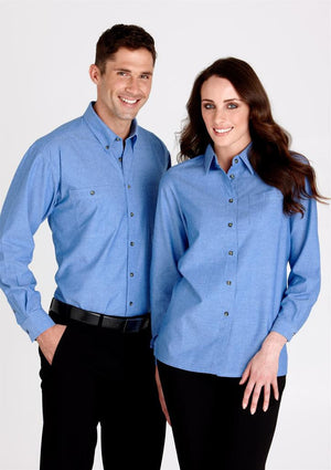 Biz Collection-Biz Collection Mens Wrinkle Free Chambray Long Sleeve Shirt-Chambray / XS-Uniform Wholesalers
