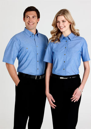 Biz Collection-Biz Collection Mens Short Sleeve Wrinkle Free Chambray Shirt--Uniform Wholesalers