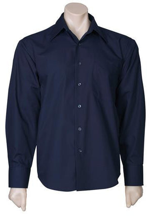 Biz Collection-Biz Collection Mens Metro Long Sleeve Shirt-Navy / S-Uniform Wholesalers - 8