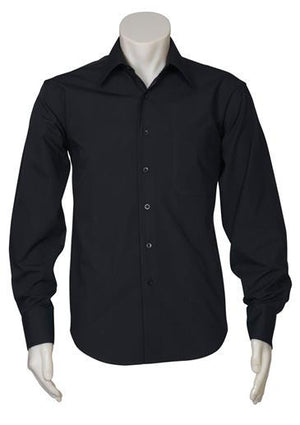 Biz Collection-Biz Collection Mens Metro Long Sleeve Shirt-Black / S-Uniform Wholesalers - 3