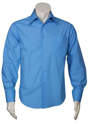 Biz Collection-Biz Collection Mens Metro Long Sleeve Shirt-Mid Blue / S-Uniform Wholesalers - 4