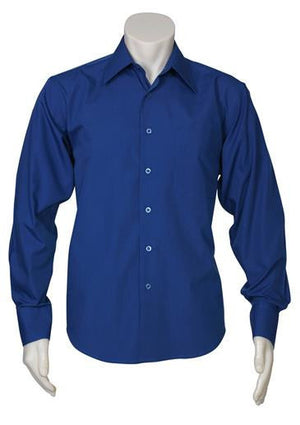 Biz Collection-Biz Collection Mens Metro Long Sleeve Shirt-Royal / S-Uniform Wholesalers - 6