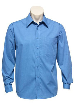 Biz Collection-Biz Collection Mens Micro Check Long Sleeve Shirt-Mid Blue / S-Uniform Wholesalers - 3