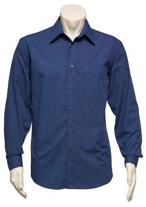 Biz Collection-Biz Collection Mens Micro Check Long Sleeve Shirt-Navy / S-Uniform Wholesalers - 1
