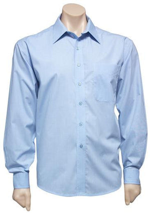 Biz Collection-Biz Collection Mens Micro Check Long Sleeve Shirt-Sky / S-Uniform Wholesalers - 4