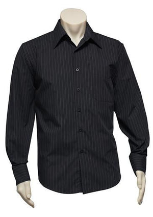 Biz Collection-Biz Collection Mens Manhattan Long Sleeve Shirt-Black / White / S-Uniform Wholesalers - 4