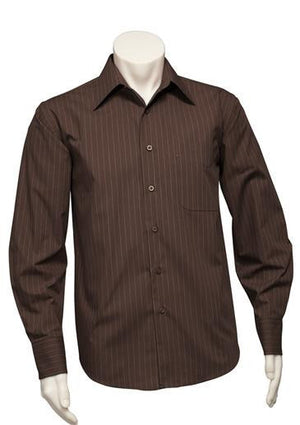 Biz Collection-Biz Collection Mens Manhattan Long Sleeve Shirt-Chocolate / White / S-Uniform Wholesalers - 2