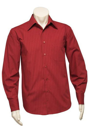Biz Collection-Biz Collection Mens Manhattan Long Sleeve Shirt-Cherry / White / S-Uniform Wholesalers - 7