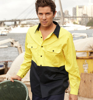 Bocini-Bosini Hi-Vis Cotton Twill Long Sleeve Shirt--Uniform Wholesalers - 1