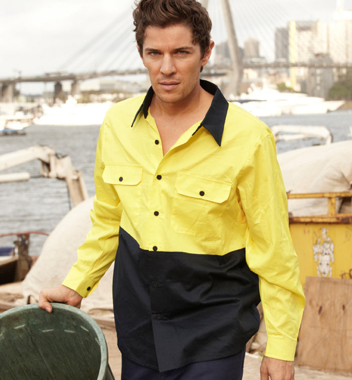 Bocini Hi-Vis Cotton Twill Long Sleeve Shirt-(SS1013)