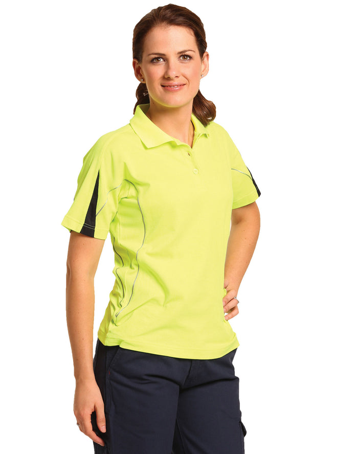 Winning Spirit Ladies' Hi-Vis Legend Short Sleeve Polo With Reflective Piping (SW26A)