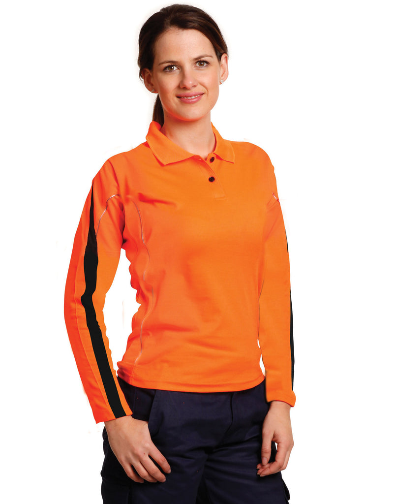 Winning Spirit-Winning Spirit Ladies' Truedry Hi-vis Legend Long Sleeve Polo With Reflective Piping--Uniform Wholesalers - 1