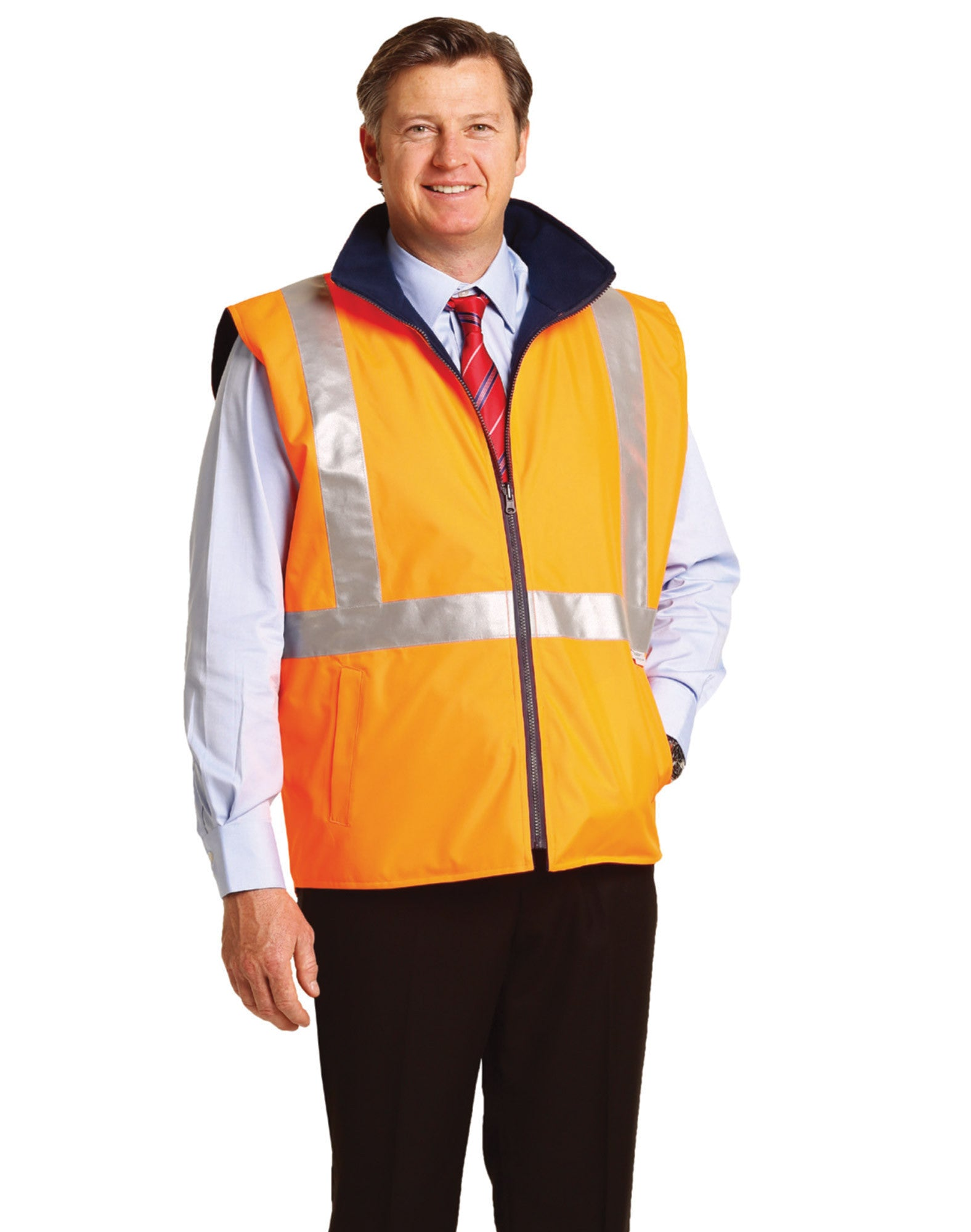 Workplace Safety Supplies Orange Work Reflective Jacket Safety Mesh Vest With 3m Tape Fancy Colours