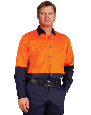 Winning Spirit-Winning Spirit Hi-Vis Two Tone Cool-Breeze Long Sleeve Cotton Work Shirt--Uniform Wholesalers - 1