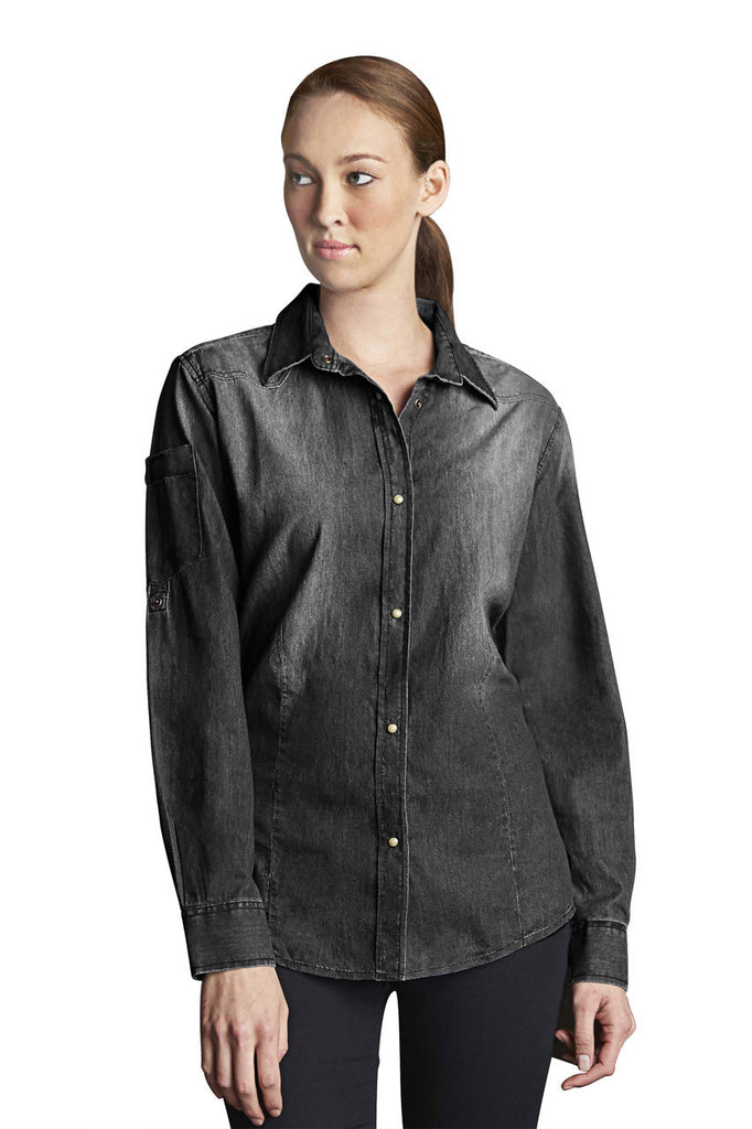 Chef Works-Chef Works Ladies Trenton L/S Denim Shirt-Black / XS-Uniform Wholesalers - 2