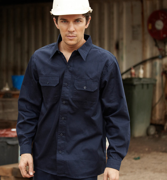 Bocini Cotton Drill Work Shirt-Long Sleeves-(WS0680)
