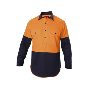 Hard Yakka  Hi-visibility Two Tone Cotton Drill Closed Front Shirt With Gusset Long Sleeve (Y07984)