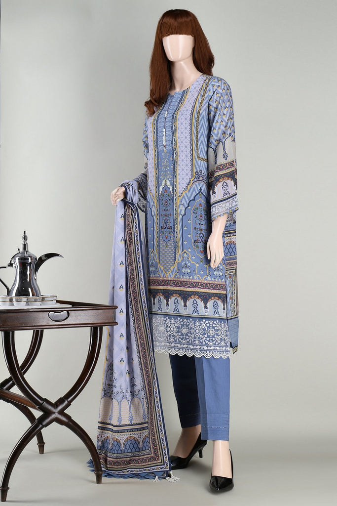 Unstitched Printed Embroidered Lawn 3 Piece