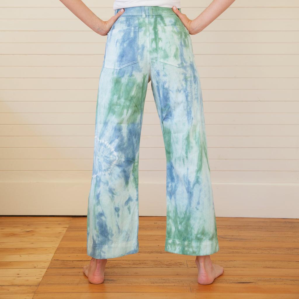 Mother of Sun : Tie Dyed Hemp Pants - Spruce