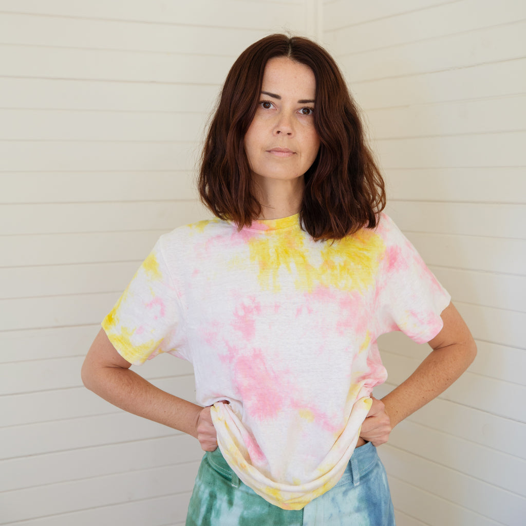 Mother of Sun : Tie Dyed Hemp Tee - Neon